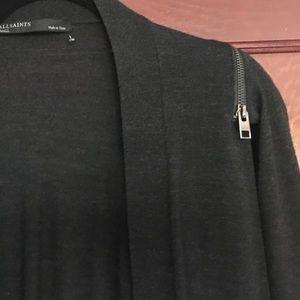 All Saints Merino Wool Cardigan, Zip Off Sleeves